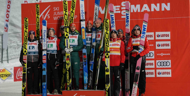 German team ahead of the Austrian ski jumpers. Polish athletes on the third step of the podium